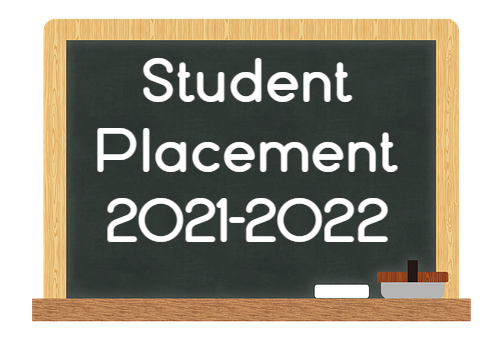 Student Placement 2021-2022 written on a chalk board